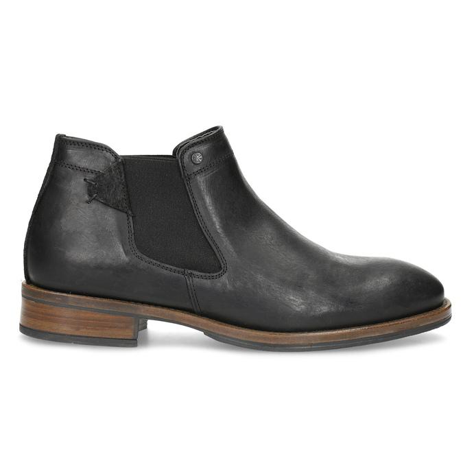 Męskie sztyblety z czarnej skóry bata, czarny, 826-6504 - 19