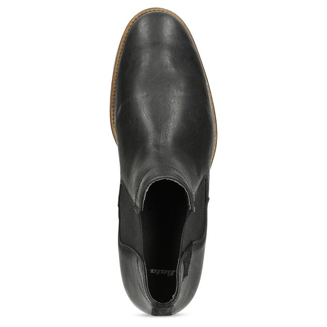 Męskie sztyblety z czarnej skóry bata, czarny, 826-6504 - 17