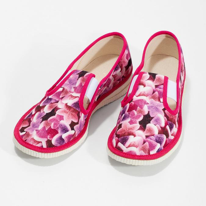 Różowe wzorzyste kapcie dziecięce bata, różowy, 379-9123 - 16