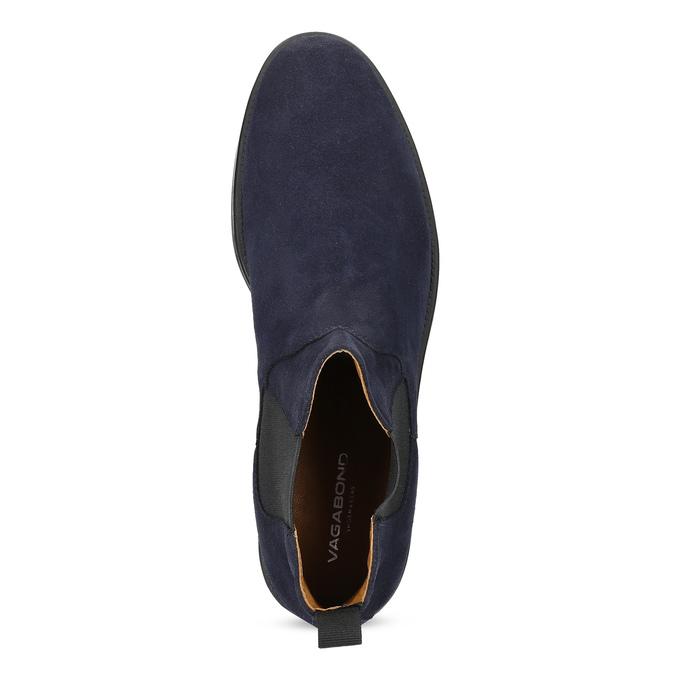 Granatowe skórzane obuwie męskie typu chelsea vagabond, niebieski, 813-6153 - 17