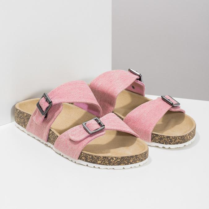 Różowe korkowe klapki damskie bata, różowy, 579-5625 - 26