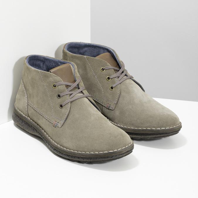 Skórzane obuwie męskie za kostkę, zprzeszyciami bata, szary, 843-2640 - 26