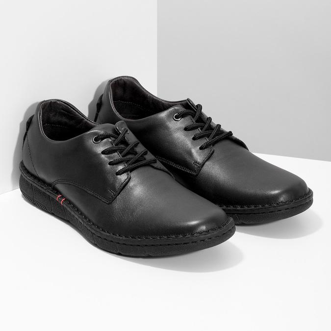 Czarne skórzane półbuty męskie bata, czarny, 824-6630 - 26
