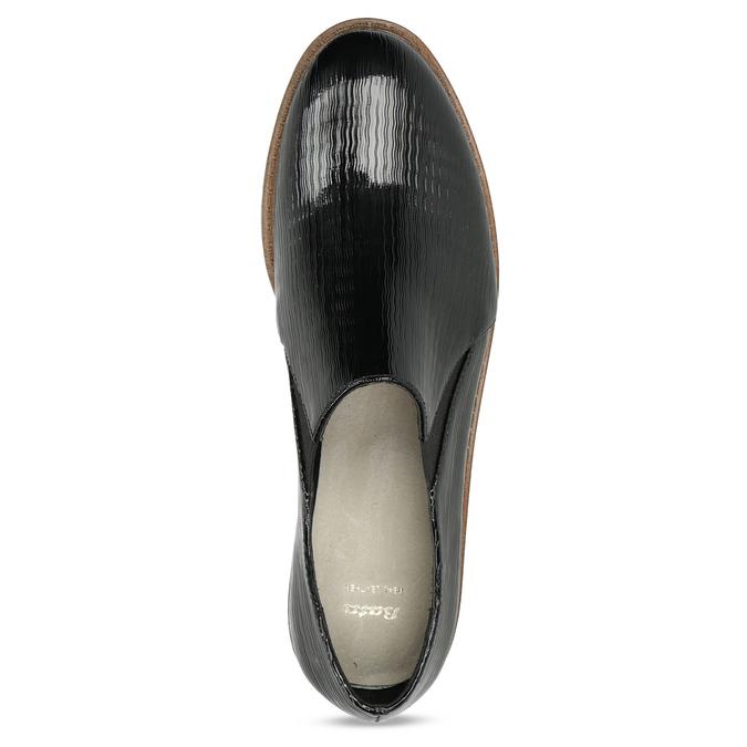 Obuwie damskie typu slip-on zfakturą bata, czarny, 511-6612 - 17