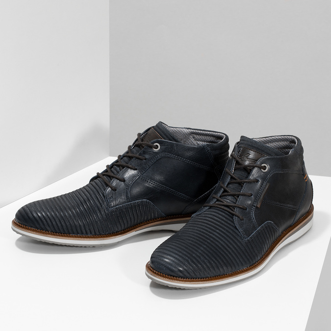 Granatowe skórzane obuwie męskie za kostkę bata, niebieski, 826-9912 - 16