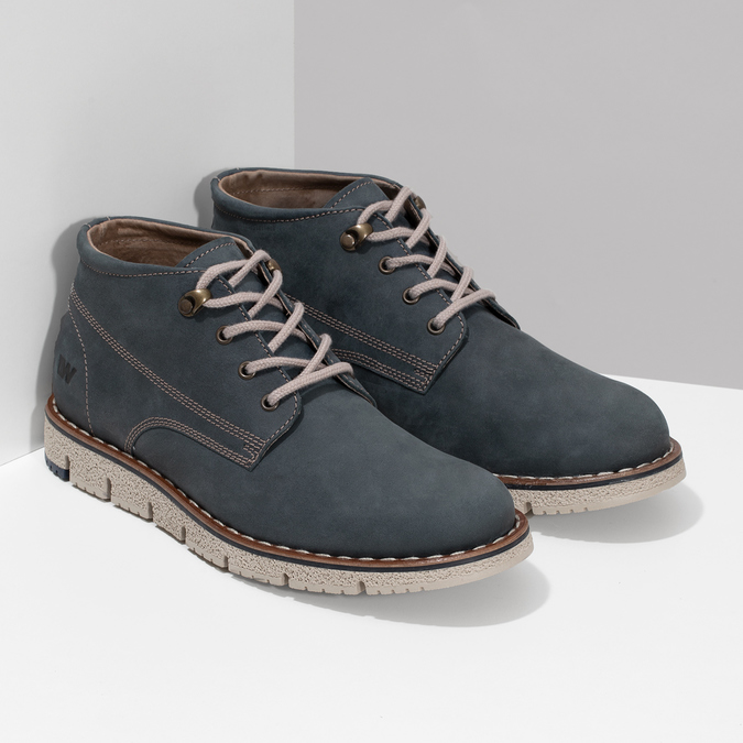 Niebieskie skórzane obuwie męskie za kostkę weinbrenner, niebieski, 846-9658 - 26