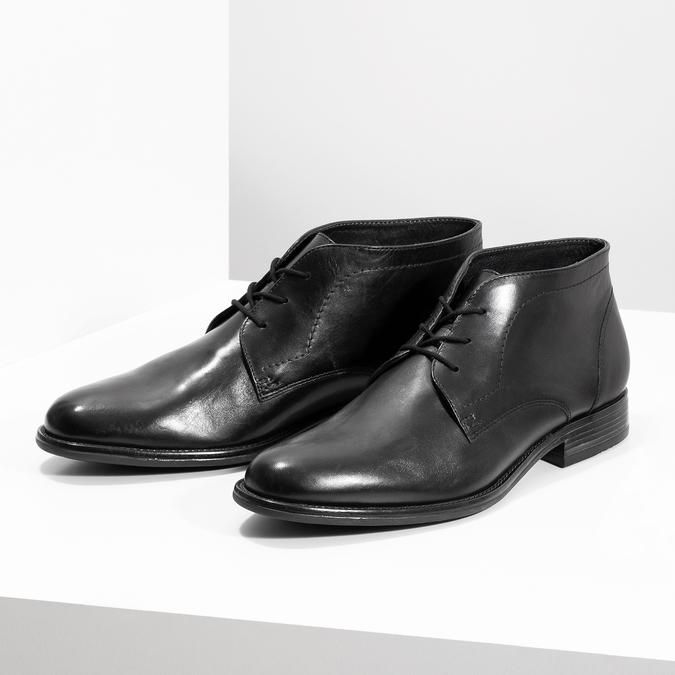Skórzane buty męskie za kostkę bata, czarny, 824-6892 - 16