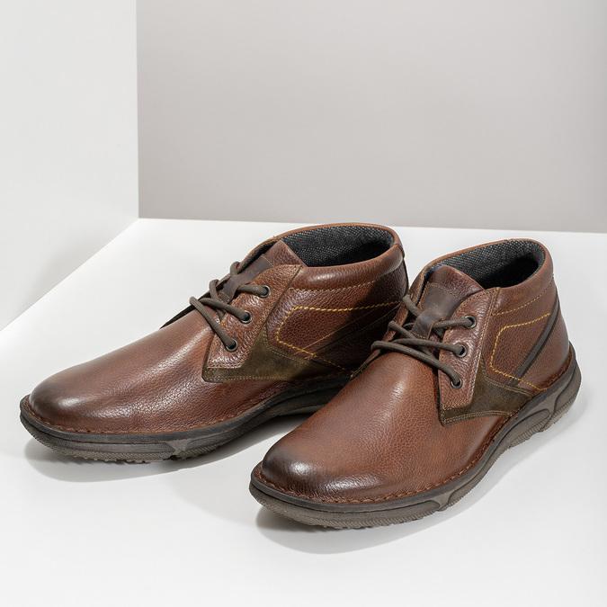 Skórzane obuwie męskie za kostkę bata, brązowy, 846-4718 - 16
