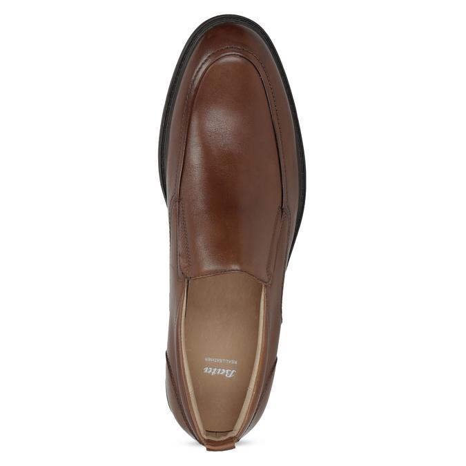 Brązowe skórzane mokasyny męskie bata, brązowy, 816-3628 - 17