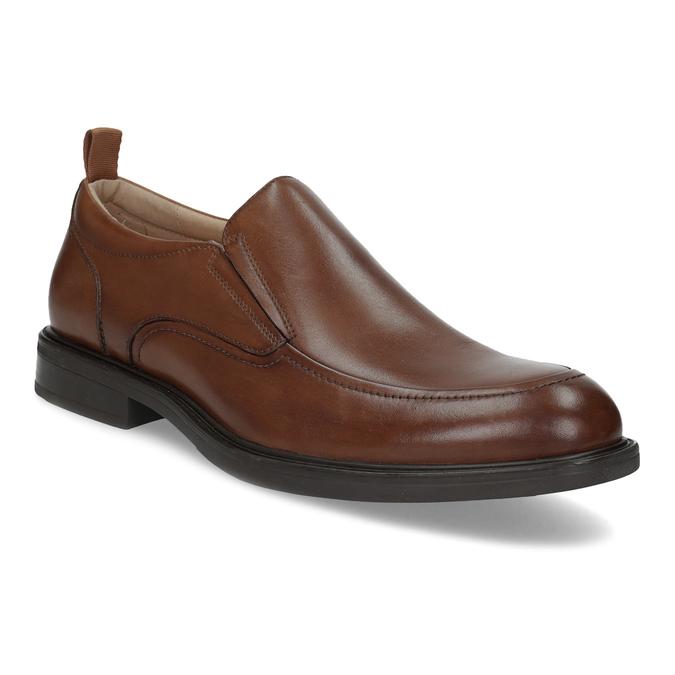 Brązowe skórzane mokasyny męskie bata, brązowy, 816-3628 - 13