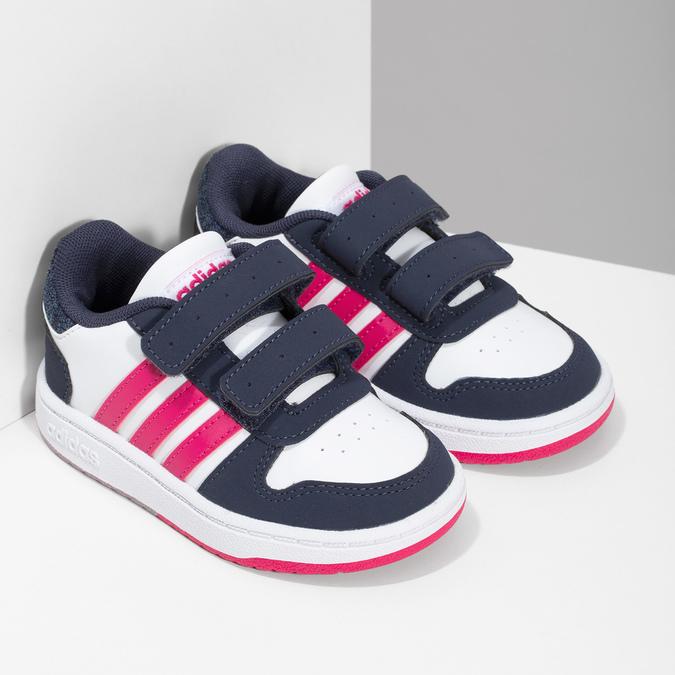 Białe trampki dziecięce na rzepy adidas, multi color, 101-1194 - 26