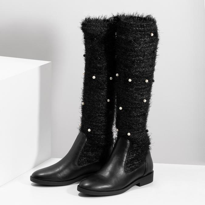 Czarne kozaki zperełkami bata, czarny, 599-6619 - 16
