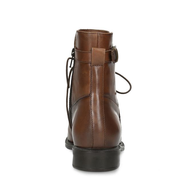 Brązowe niskie kozaki damskie ze skóry bata, brązowy, 594-4674 - 15