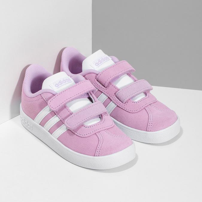 Różowe skórzane trampki dziecięce adidas, różowy, 103-5203 - 26