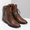 Brązowe niskie kozaki damskie ze skóry bata, brązowy, 594-4674 - 26