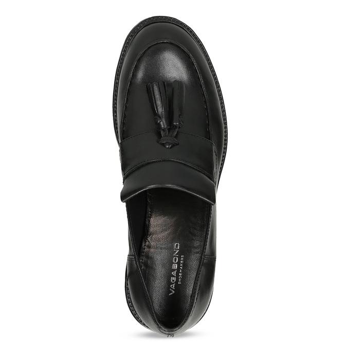 Czarne skórzane mokasyny zchwostami vagabond, czarny, 614-6056 - 17