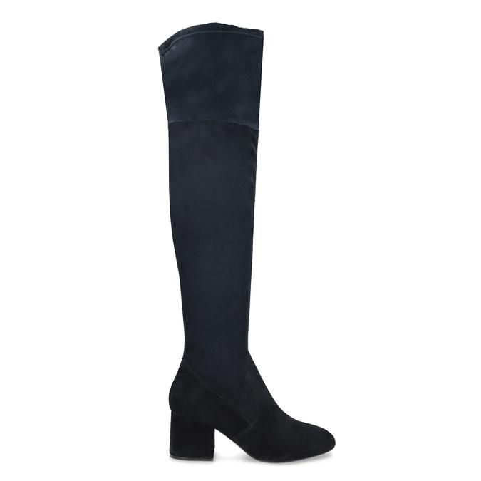 Granatowe kozaki damskie za kolana bata, niebieski, 793-9614 - 19