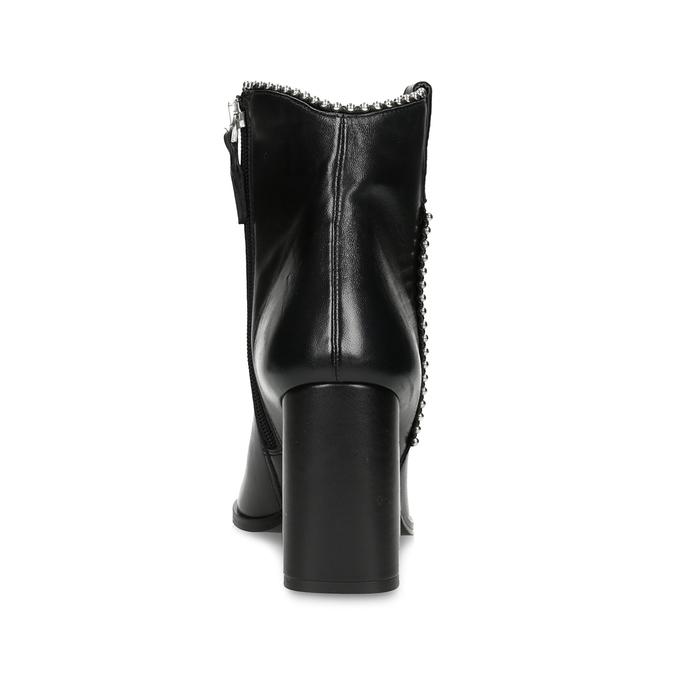 Damskie skórzane niskie kozaki z zaostrzonym noskiem bata, czarny, 796-6658 - 15