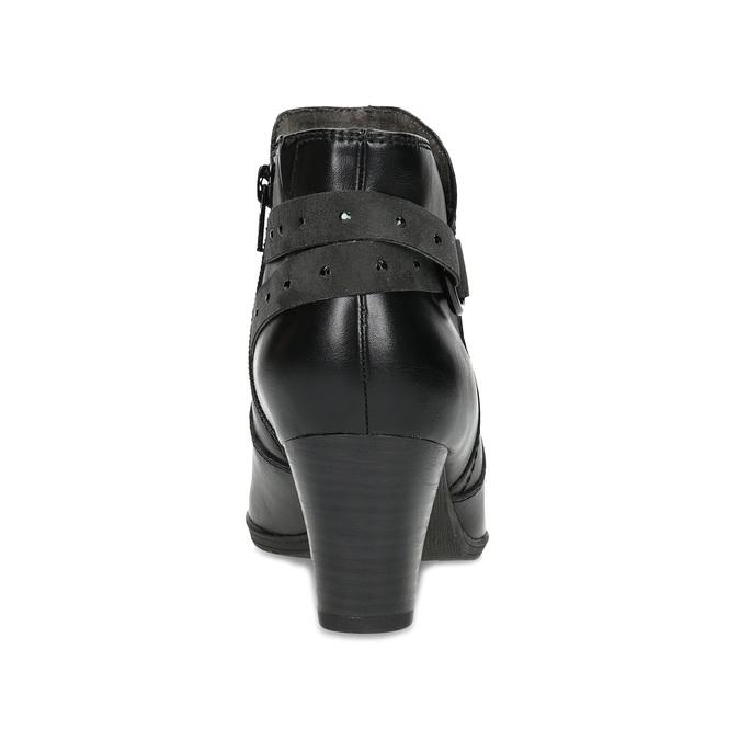 Skórzane botki zklamrami, czarny, 696-6656 - 15