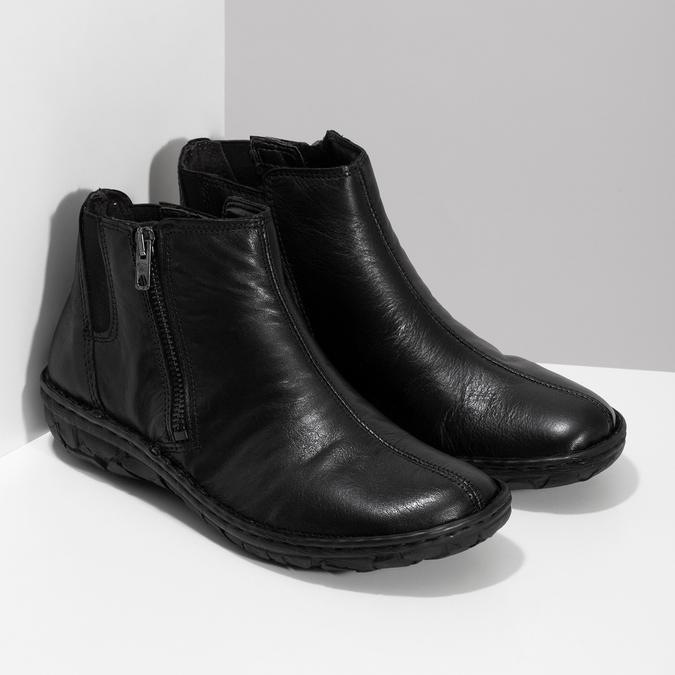 Zimowe skórzane botki damskie bata, czarny, 594-6708 - 26