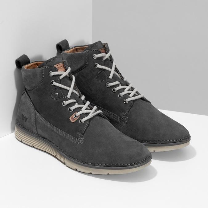 Skórzane obuwie męskie za kostkę, zprzeszyciami weinbrenner, szary, 846-6719 - 26