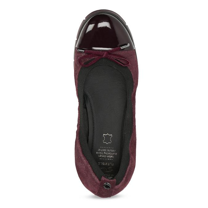 Damskie baletki skórzane bordowe flexible, czerwony, 526-5663 - 17