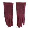 Bordowe rękawiczki zkryształkami bata, czerwony, 909-5692 - 26