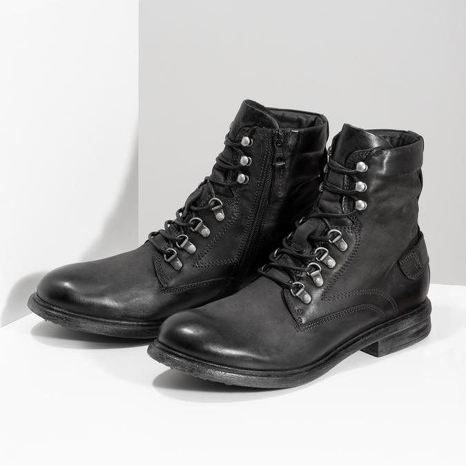 Czarne skórzane trzewiki męskie bata, czarny, 896-6743 - 16