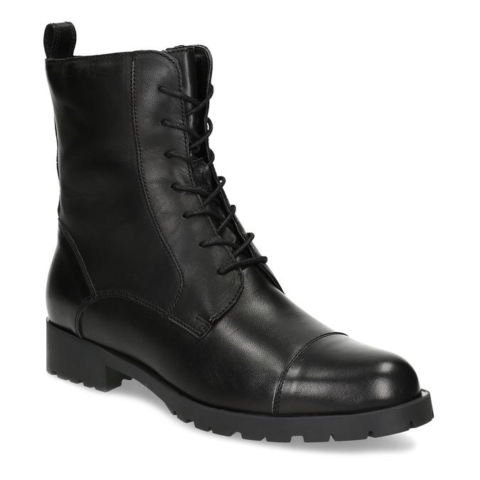 Czarne skórzane kozaki damskie bata, czarny, 594-6718 - 13