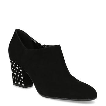 Skórzane botki damskie zćwiekami bata, czarny, 723-6661 - 13