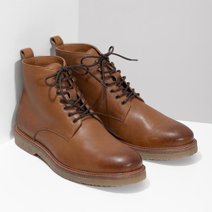 Brązowe skórzane obuwie męskie za kostkę bata, brązowy, 896-3721 - 26