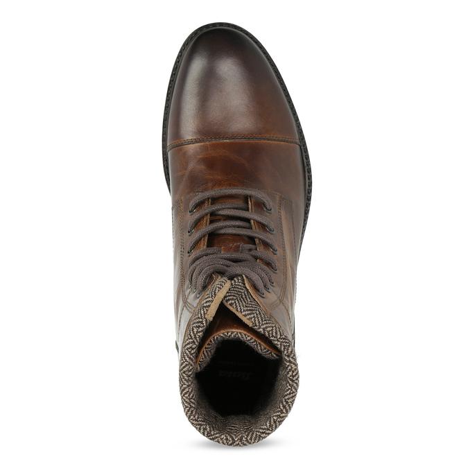 Zimowe skórzane buty męskie za kostkę bata, brązowy, 896-4716 - 17