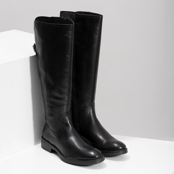 Czarne skórzane kozaki zklamrami bata, czarny, 594-6678 - 26