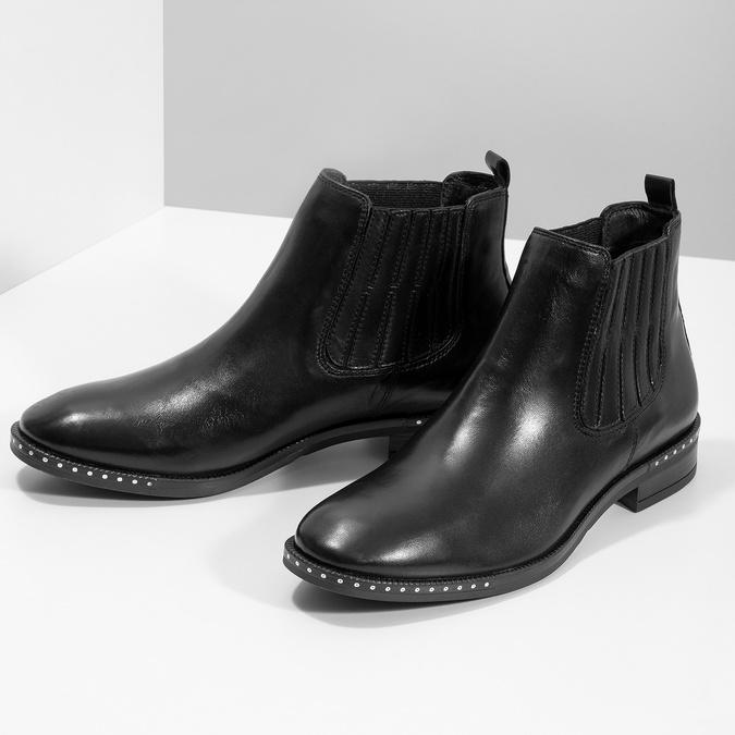 Skórzane obuwie damskie typu chelsea zkryształkami bata, czarny, 594-6682 - 16