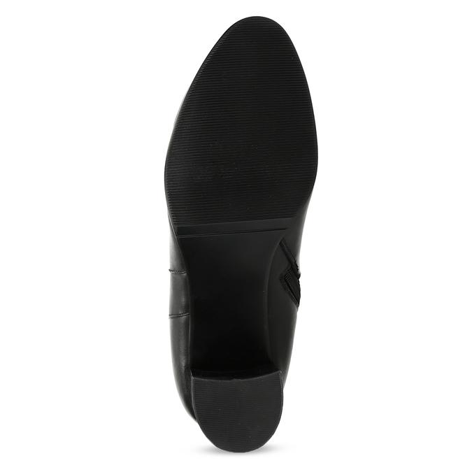Czarne skórzane kozaki zprzeszyciami bata, czarny, 694-6639 - 18