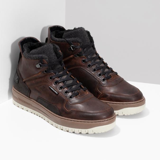Zimowe skórzane obuwie męskie za kostkę bata, brązowy, 896-3712 - 26