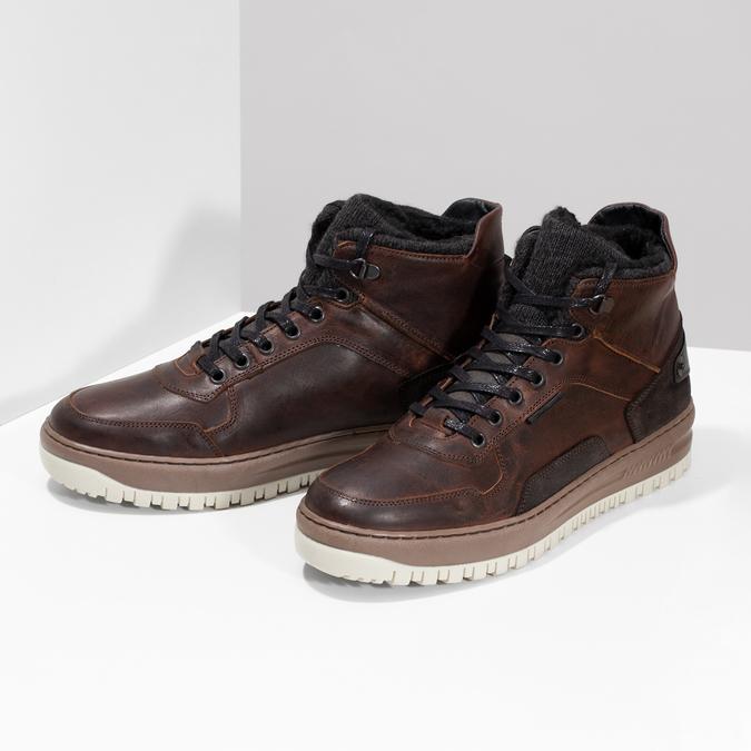 Zimowe skórzane obuwie męskie za kostkę bata, brązowy, 896-3712 - 16