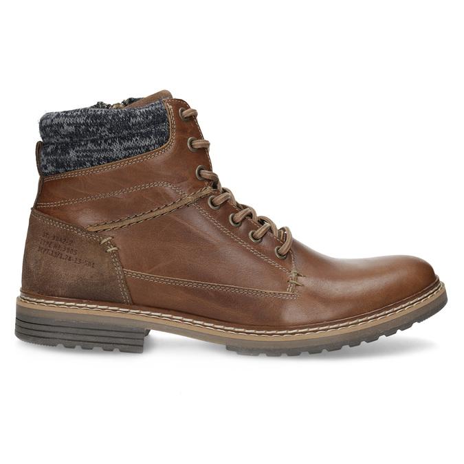 Brązowe skórzane obuwie męskie za kostkę bata, brązowy, 896-3713 - 19