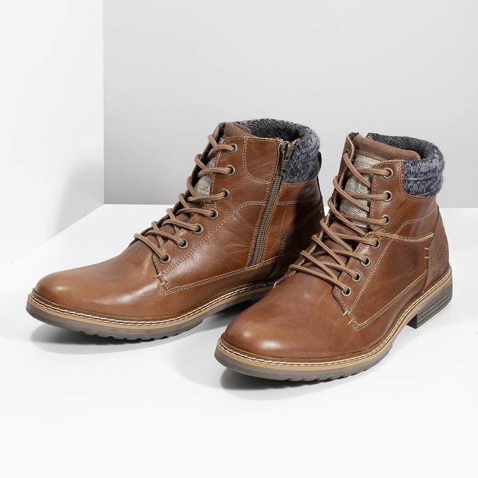 Brązowe skórzane obuwie męskie za kostkę bata, brązowy, 896-3713 - 16