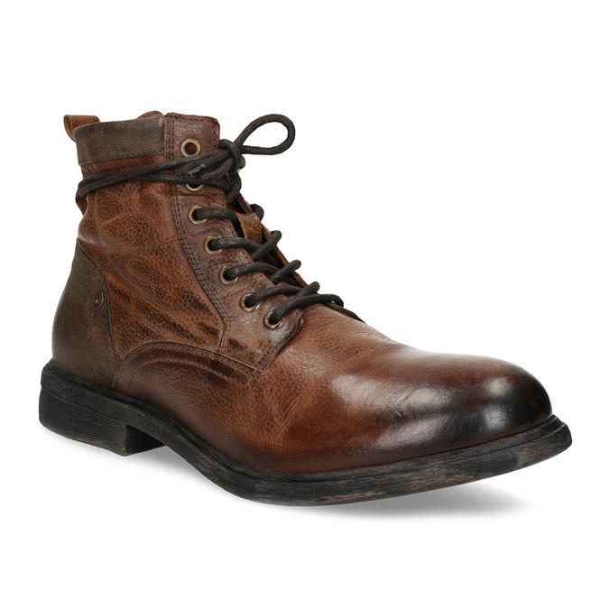 Brązowe skórzane obuwie męskie za kostkę bata, brązowy, 896-3717 - 13