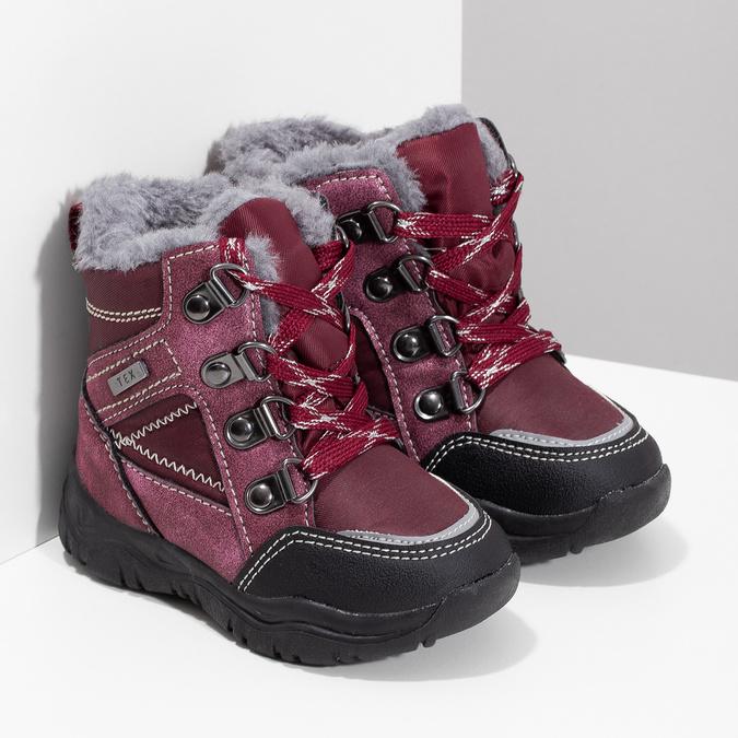 Bordowe sznurowane śniegowce dziewczęce, czerwony, 199-5613 - 26