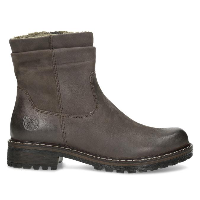 Skórzane kozaki damskie zociepliną bata, brązowy, 596-4703 - 19