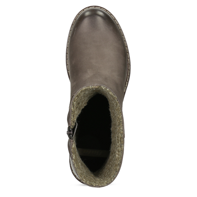 Skórzane kozaki damskie zociepliną bata, brązowy, 596-4703 - 17
