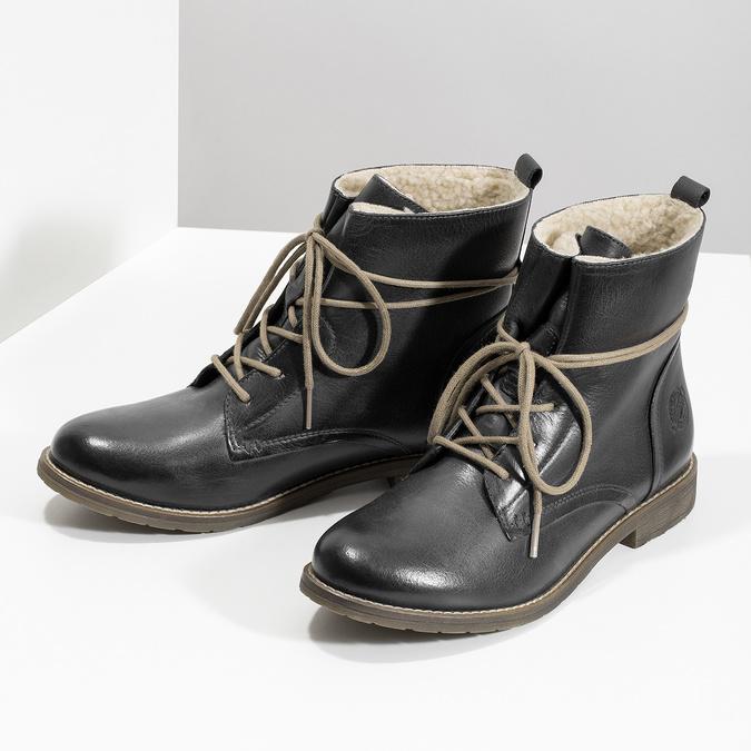 Granatowe botki zociepliną bata, niebieski, 596-9702 - 16