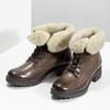 Skórzane botki damskie zfuterkiem bata, brązowy, 694-4669 - 16
