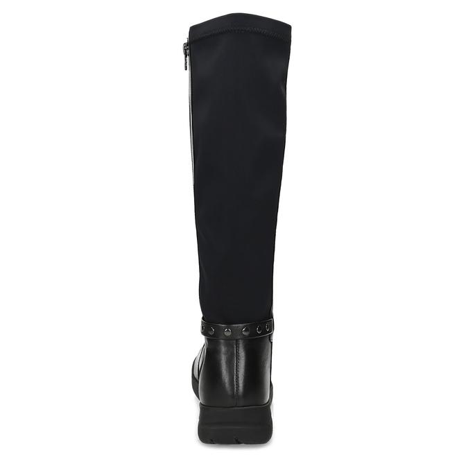 Czarne skórzane kozaki damskie bata, czarny, 594-6684 - 15