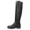 Czarne skórzane kozaki zmetalowymi ćwiekami bata, czarny, 596-6725 - 17