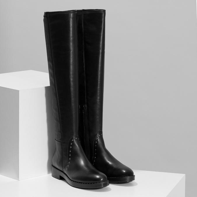 Czarne skórzane kozaki zmetalowymi ćwiekami bata, czarny, 596-6725 - 26