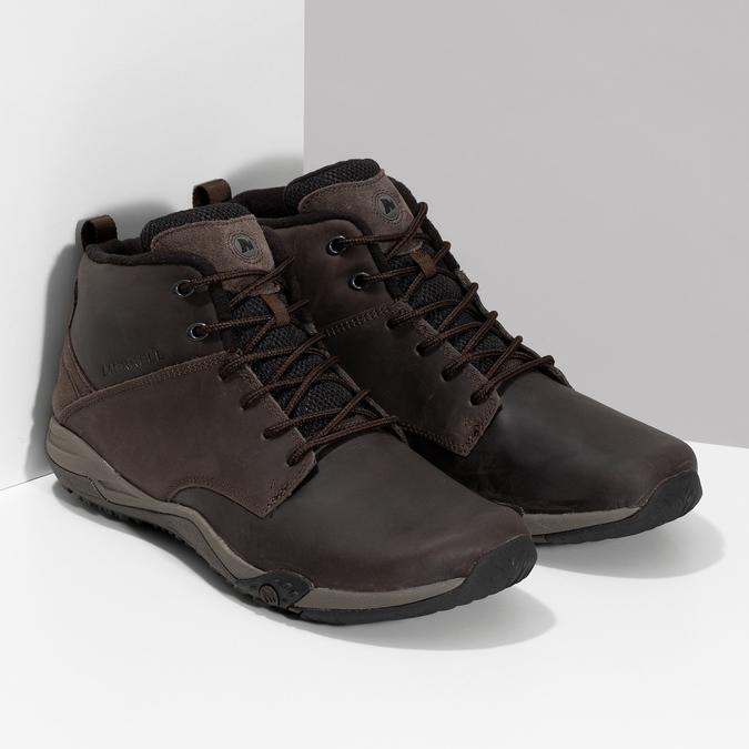 Brązowe skórzane obuwie męskie za kostkę merrell, brązowy, 806-4102 - 26