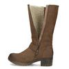 Brązowe kozaki damskie zklamrami bata, brązowy, 691-4643 - 17
